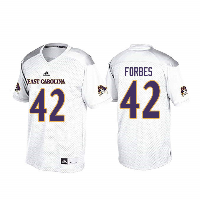 Men #42 Keaton Forbes ECU Pirates College Football Jerseys Sale-White